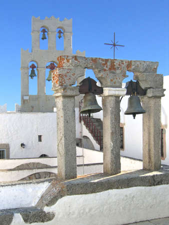 Bell tower of the Monastery St John the Theologian in Patmos island Greece. Unesco World Heritage Site Stock Photo