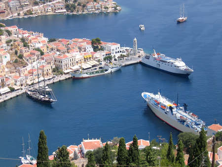 Aerial veiw on the vessels in the harbor of the Greek city