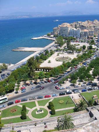 Aerial view to Mediterranean city. Town of Kerkyra photo