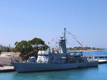 a battleship: Battleship in the port Stock Photo