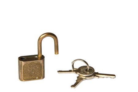 the padlock and the bunch of keys. isolated on white photo