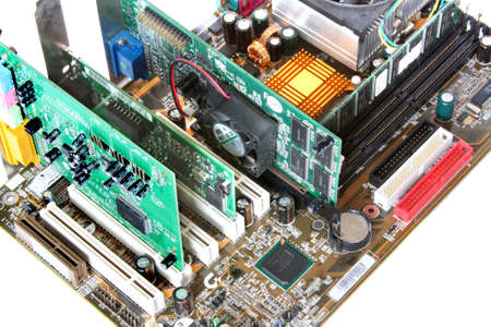 Computer Hardware. Motherboard with video card, sound card photo