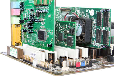 componentes: Hardware de computadora. Placa base con tarjeta de v�deo, tarjeta de sonido Foto de archivo
