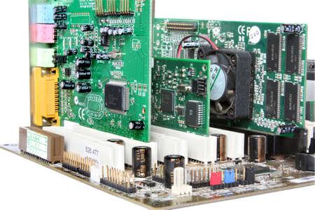 hardware: Hardware de computadora. Placa base con tarjeta de v�deo, tarjeta de sonido Foto de archivo