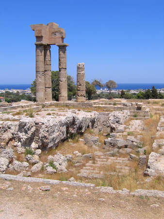 ruins of ancient Greek temple with columns photo