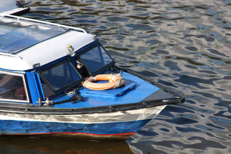 Bow of rescue boat on the river photo