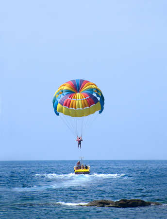 Rainbow Parasail launch from boat in Turkey Stock Photo