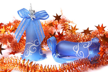 Blue Christmas Bells and tinsel. Isolated on white Stock Photo - 5798117
