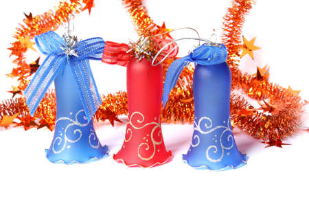 Blue and red Christmas Bells and tinsel. Isolated on white Stock Photo - 5825031