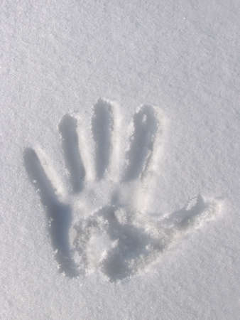 Hand Print in Snow Stock Photo - 5877669