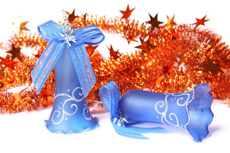 Blue Christmas Bells and tinsel. Isolated on white Stock Photo - 5945773