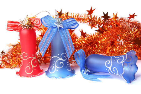 Blue and red Christmas Bells and tinsel. Isolated on white Stock Photo - 5966420