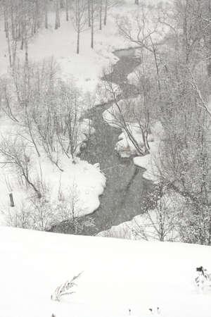 snowdrift: Winter creek between the snowdrift. Snowfall