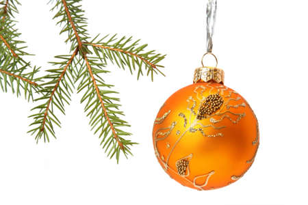 Christmas Tree and Bauble. Isolated on white Stock Photo - 6076773