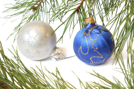 Christmas Tree and Bauble. Isolated on white Stock Photo - 6076780