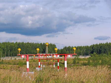 The airplane landing signal lights Stock Photo - 7152301