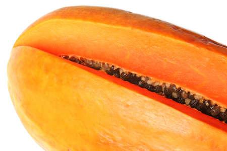 bisected: Close-up of bisected orange papaya. Isolated on white Stock Photo