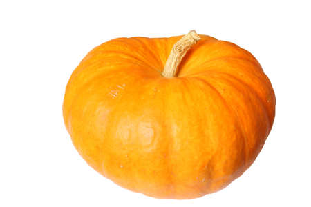 Ripe orange organic pumpkin. Isolated on white photo