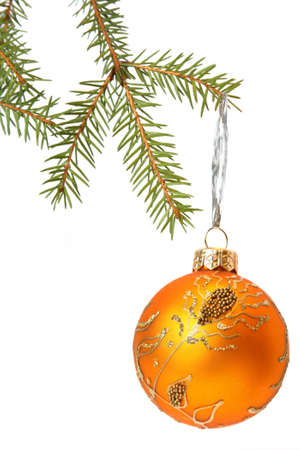 Christmas Tree and Bauble. Isolated on white Stock Photo - 8011992