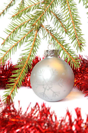 Christmas Tree, bauble and red tinsel. Isolated on white Stock Photo - 8012020