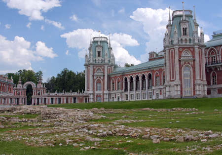 Building in Neo-Gothic style - Grand Palace in Moscow museum-reserve Tsaritsyno in Russia Stock Photo