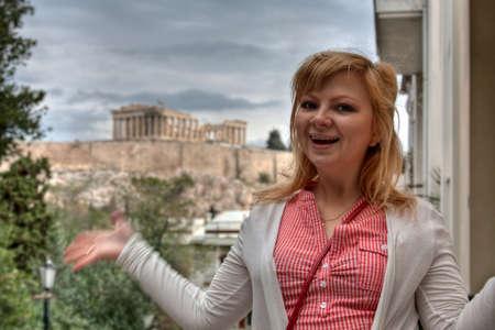 Girl near Ancient Parthenon. Acropolis Athens Greece