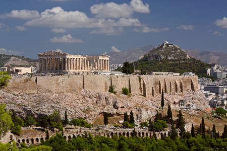 View on Acropolis and Likavitos, Athens, Greece