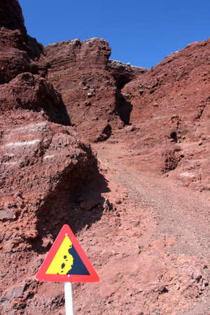'Risk of Falling or Fallen Rocks' warning sign against red cliffs photo