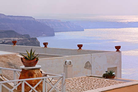 Seaview from the terrace of luxury hotel in Santorini, Greece. photo