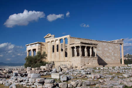 The ancient temple Erechtheion  in Acropolis, Athens, Greece  photo