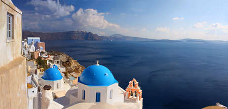 Panorama of caldera on island of Santorini (Thyra), Greece photo