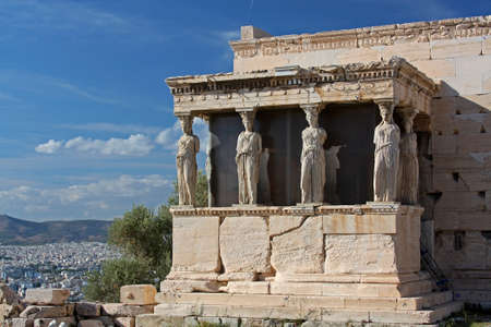 The ancient Porch of Caryatides in Acropolis, Athens, Greece