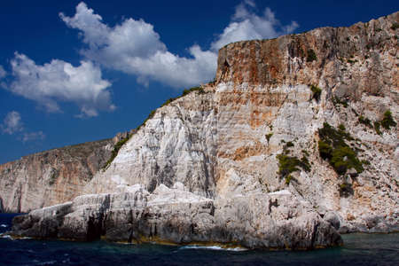 White cliffs in the west of island of Zakynthos, Greece photo