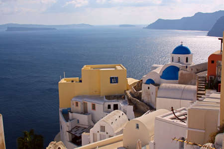 View at a village in greek island of Santorini Imagens