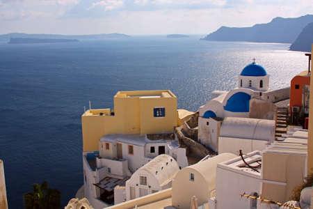 greek islands: View at a village in greek island of Santorini Stock Photo