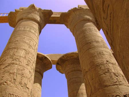 Egyptian columns with hieroglyphs at Karnak Temple, Luxor photo
