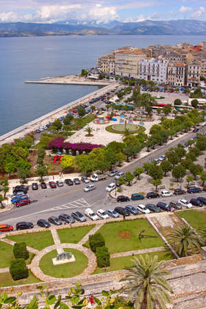 Aerial view of a square and a promenade in Kerkira town, Corfu, Greece photo