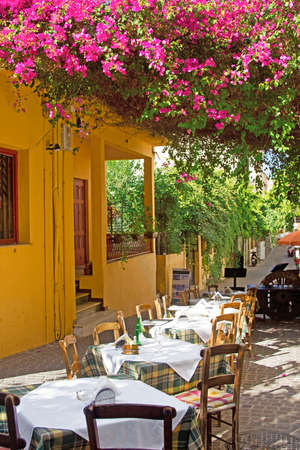 Cafe on the streets of old European city  Hania, Crete, Greece