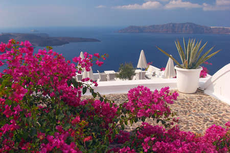 A nice terrace in Santorini island with bougainvillea flowers and the view over the caldera  Greece