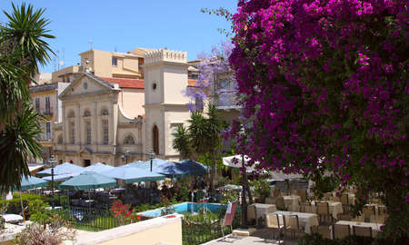 A cozy square with street cafe in a mediterranean town