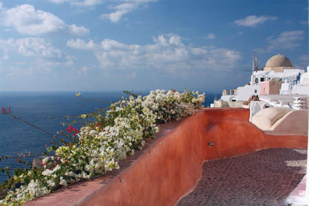 View at the village of Oia in greek island of Santorini photo