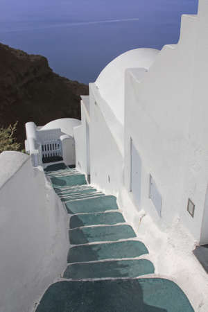 steps and staircases: Staircase in Santorini, Greece Stock Photo