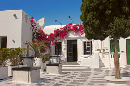 Traditional greek house in Mykonos photo