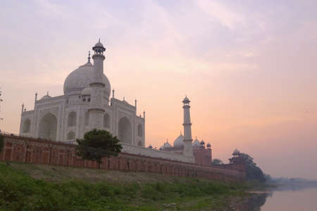 love dome: The Taj Mahal at sunrise. Agra India Stock Photo