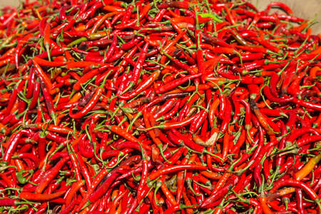 hot frame: Full frame background of red hot chilli peppers