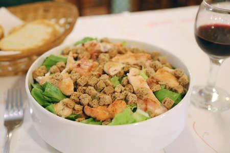 Traditional greek dinner. Greek version of Caesar salad