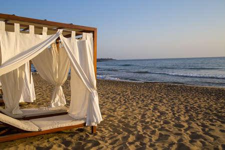 canopies: White beach canopies. Luxury beach tents at a resort Stock Photo
