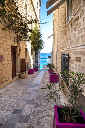 Narrow streets in Ermoupolis, Syros, Greece Stok Fotoğraf