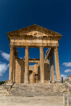Ruins of Roman temples in Dougga, Tunisia
