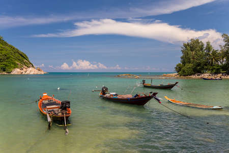 Traditional Thai long boats in the sea 免版税图像